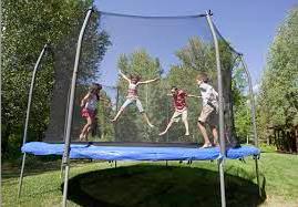 children on the trampoline bouncer
